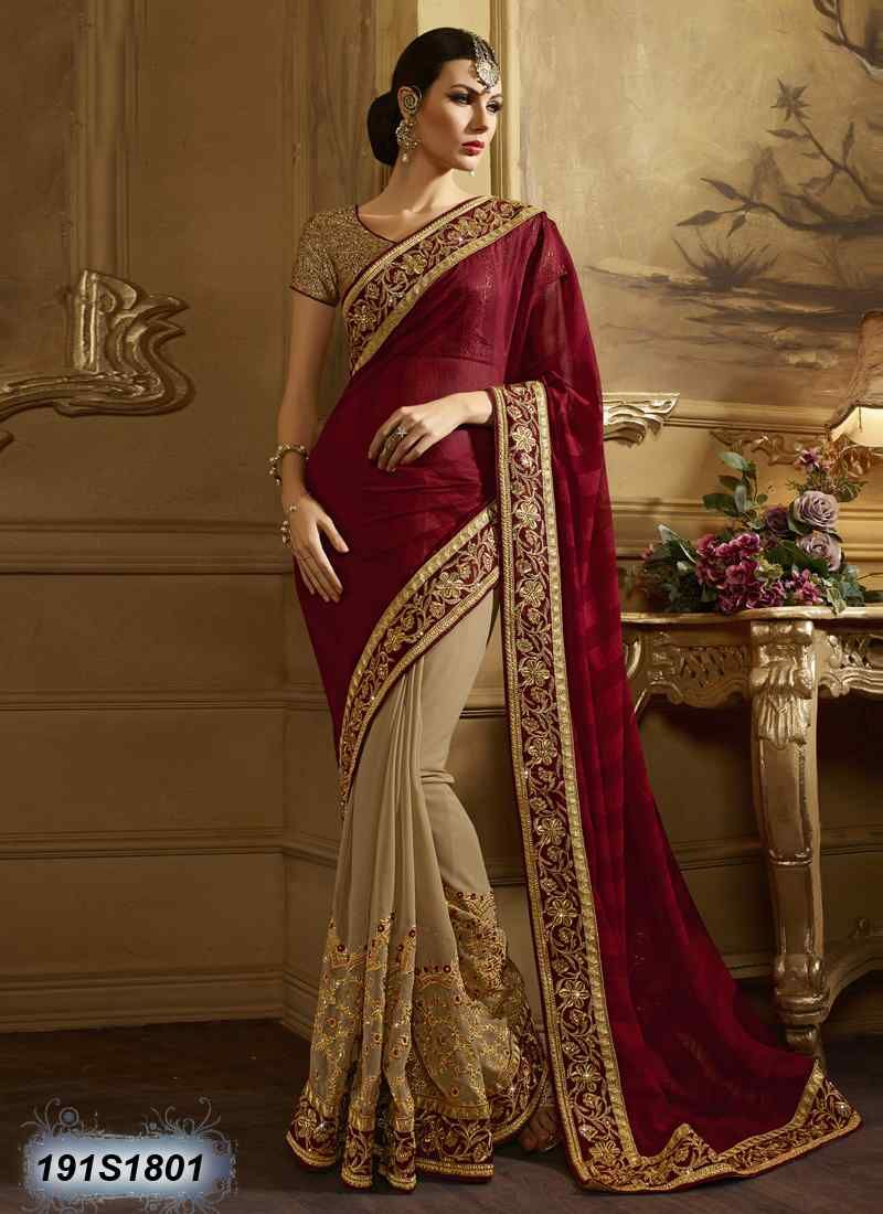 87ea7fbd67 Decent Beige Coloured Faux Georgette Embroidered Saree | Elegant ...