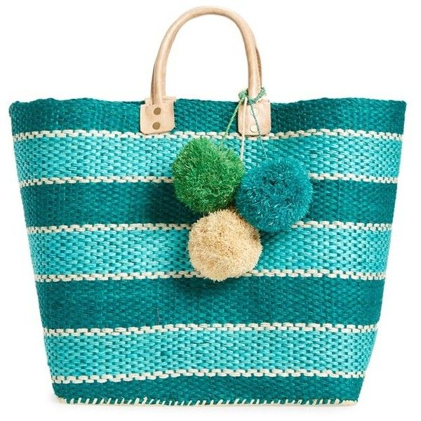 Mar y Sol 'Capri' Woven Tote with Pom Charms (403.920 COP) ❤ liked on Polyvore featuring bags, handbags, tote bags, aqua, tote handbags, blue tote handbags, raffia beach tote, blue tote and tote purse
