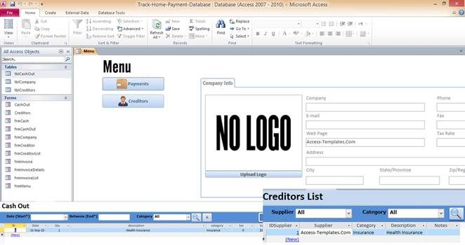 Access Database Templates Track Home Payment Access Database - microsoft office inventory template