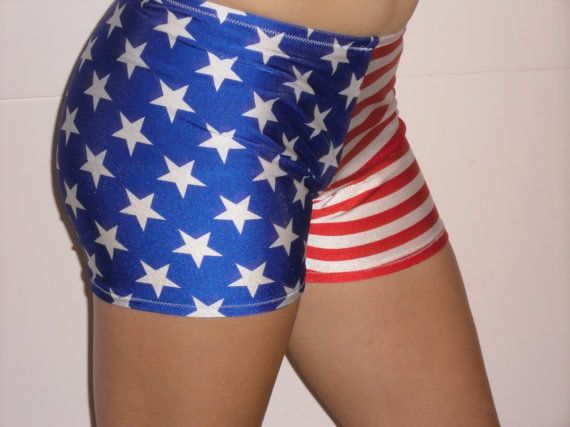 Spandex shorts in red white and blue stars and stripes   Spandex ...
