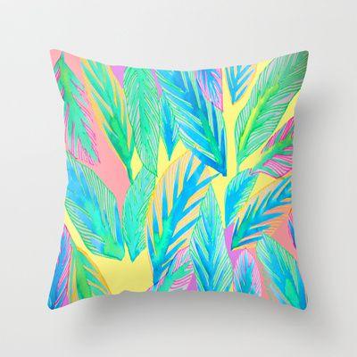 Rainbow Tropics Throw Pillow by Lara Johnson - $20.00