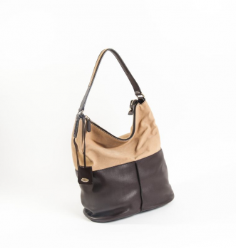 #TOD'S #ToteBag Grained Leather beige and brown leather, zipper, half-loop strap.