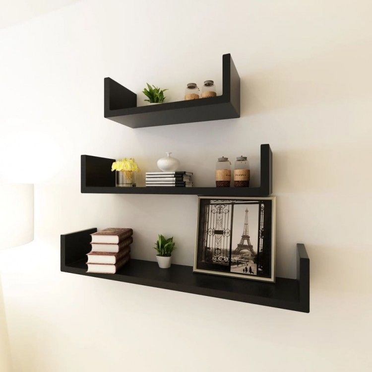 Black U Shaped Floating Wall Display Shelves Book Dvd Storage