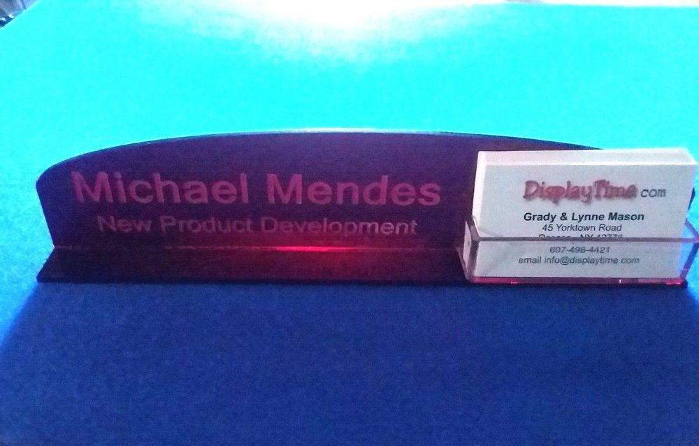 Personalized Acrylic Glass NAME PLATE BAR Desk / Business Card ...