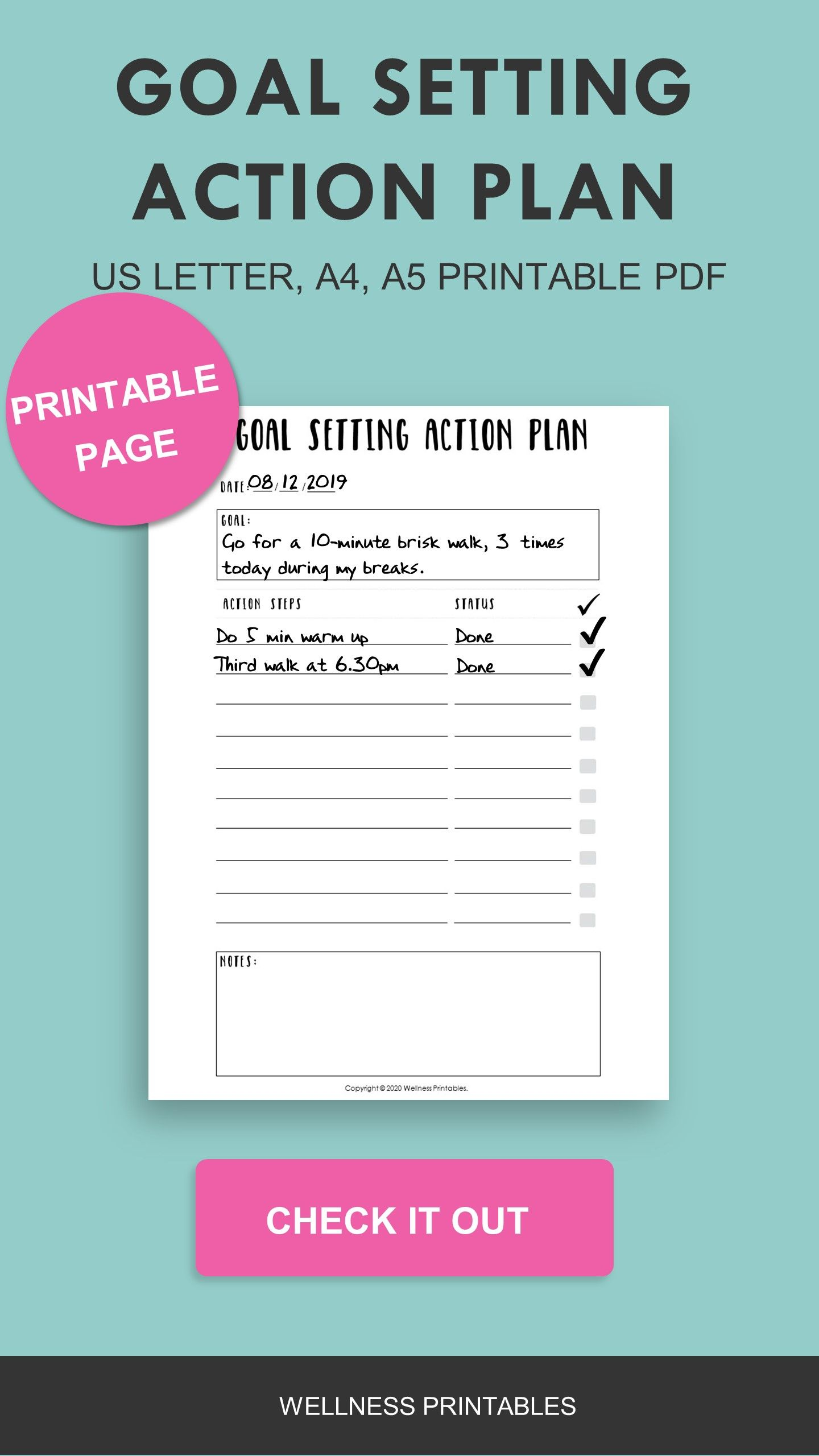 Goal Action Planner Printable A4 A5 Planner Inserts