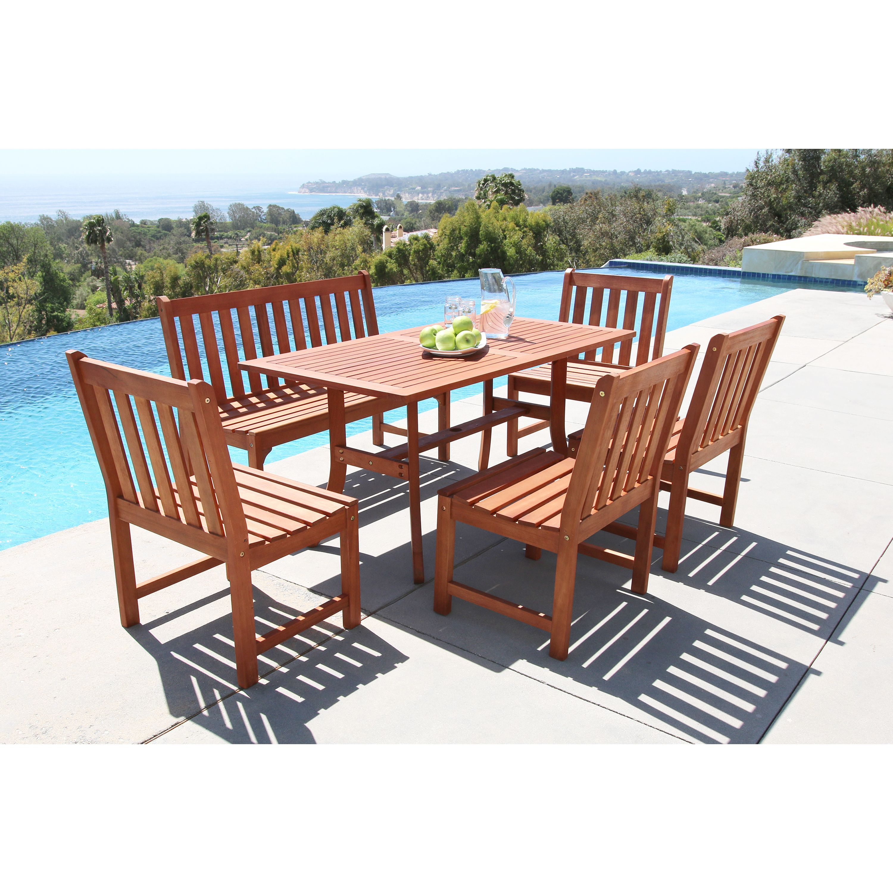 Malibu Eco Friendly 6 Piece Outdoor Hardwood Dining Set With Rectangle Table 4 Foot Bench And Armless Chairs Wood Patio Outdoor Furniture Sets Outdoor Dining Set