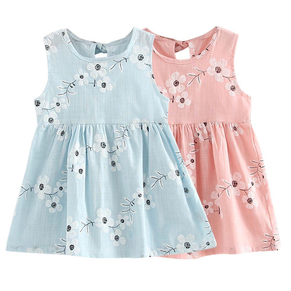 Children Girls Dresses Kids Girl Sleeveless Morning Glory Print ...