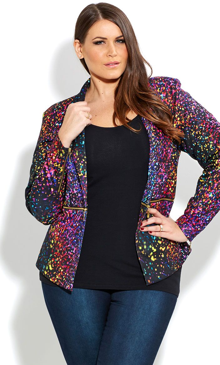 e18437a05d8 CITY CHIC - CONFETTI ZIP WAIST JACKET - Women s plus size fashion.love her  confetti blazer. Super hot!!!