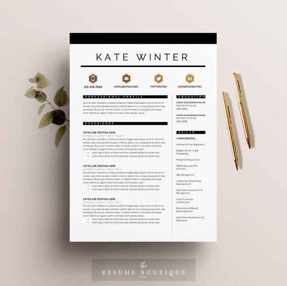 Resume Template 4 pages CV Template + Cover Letter for MS Word - sample application cover letter template