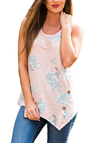 61a165828fa HOTAPEI Women s Floral Asymmetrical Pink Tank Tops With Button Detail XL