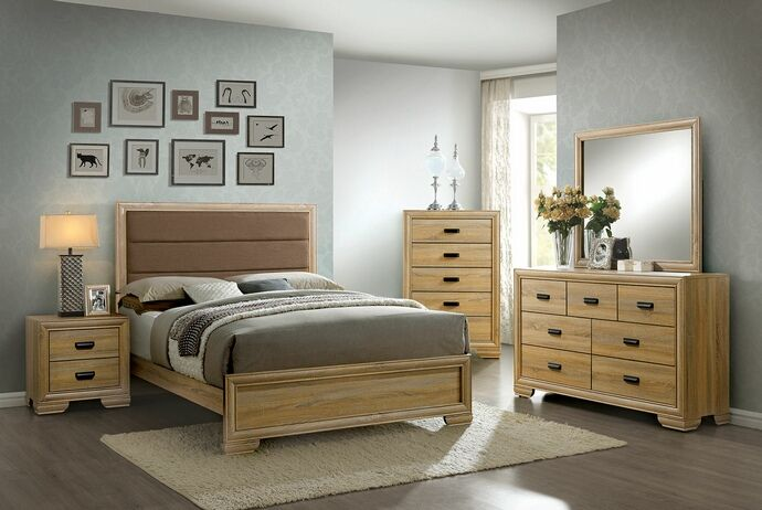 Cm7660 5 Pc Renee Collection Contemporary Style Natural Finish Wood Padded Queen Bedroom Set Contemporary Bedroom Furniture Contemporary Bedroom Sets Furniture Of America
