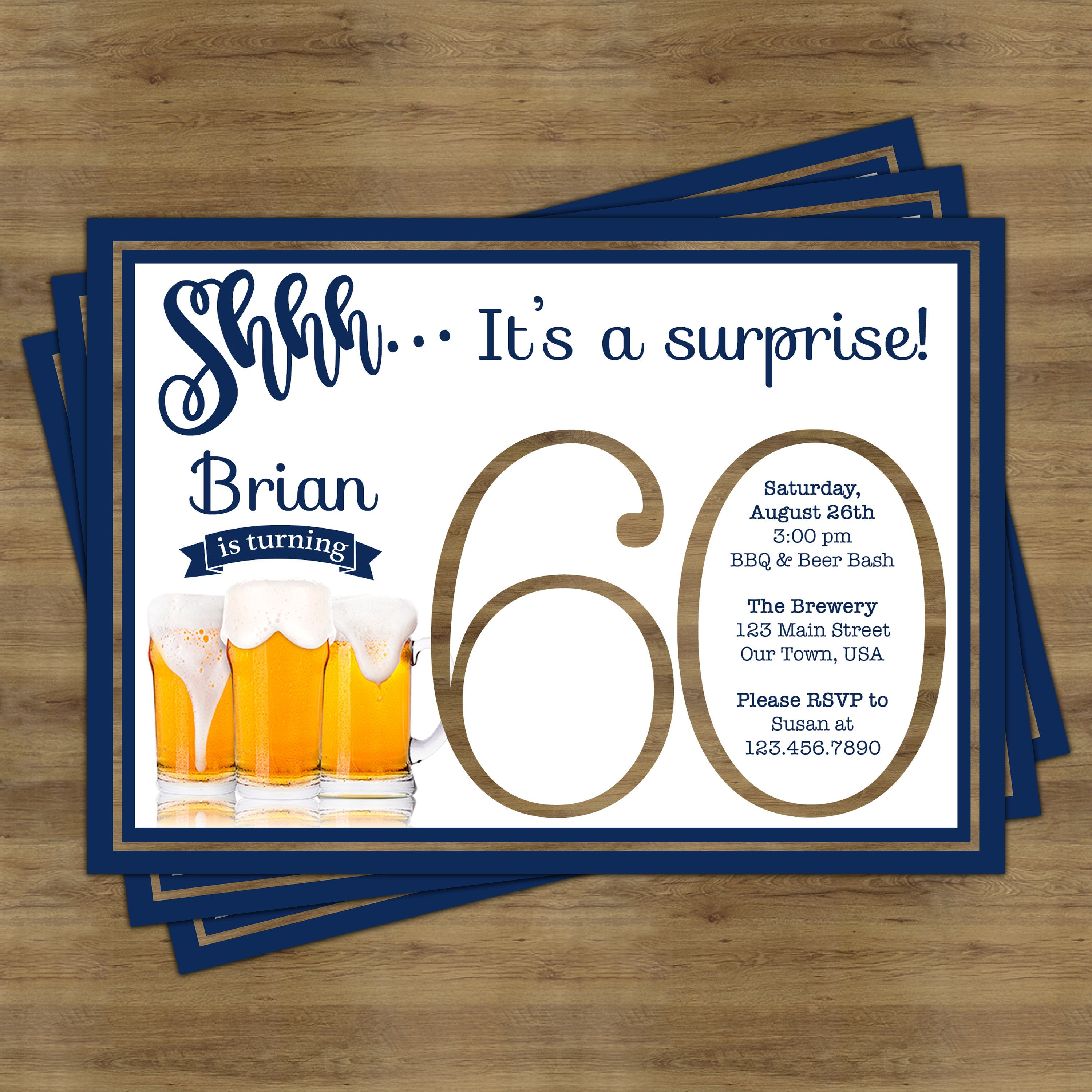 Beer Party Invitation; Surprise 60th Birthday Invitation for Him ...