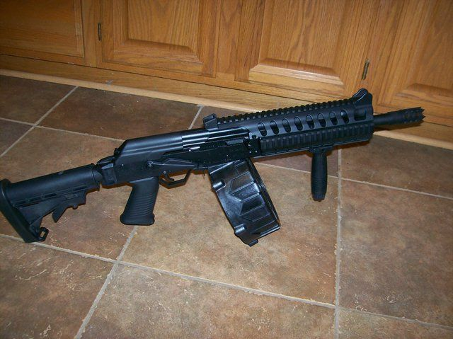 Saiga 12 Modified with Drum  This is a fully automatic 12