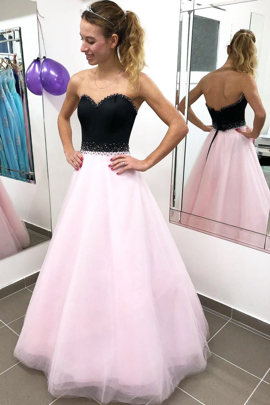 Sweetheart Lace Up Long Pink Prom Dress Homecoming Dresses Long Formal Evening Dresses Long Graduation Party Dresses [ 1350 x 900 Pixel ]