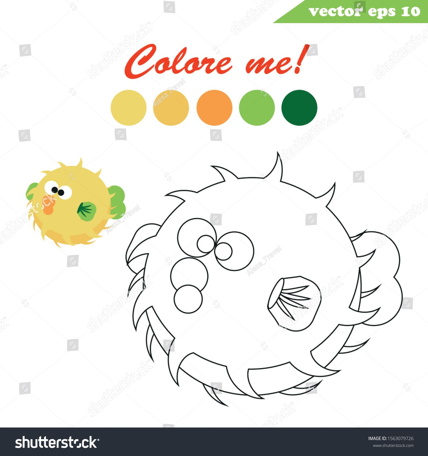 Simple And Easy Educational Game For Children Coloring Book Page Underwater Creatures Pufferfish Educational Games For Kids Educational Games Coloring Books