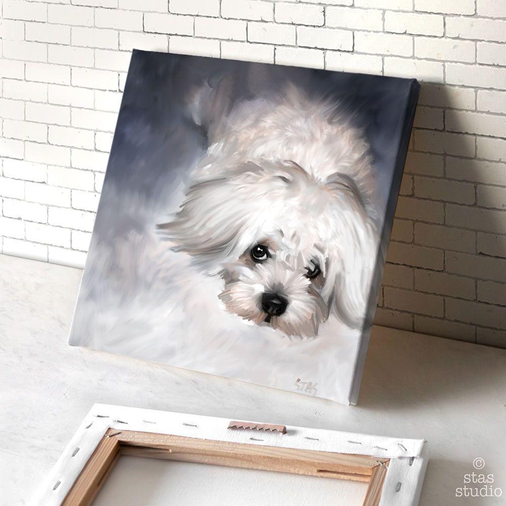Maltese Dog Acrylic Oil Custom Artwork Canvas Art Giclee Print Mounted Maltese Dogs Pet Portraits Dog Wall Art