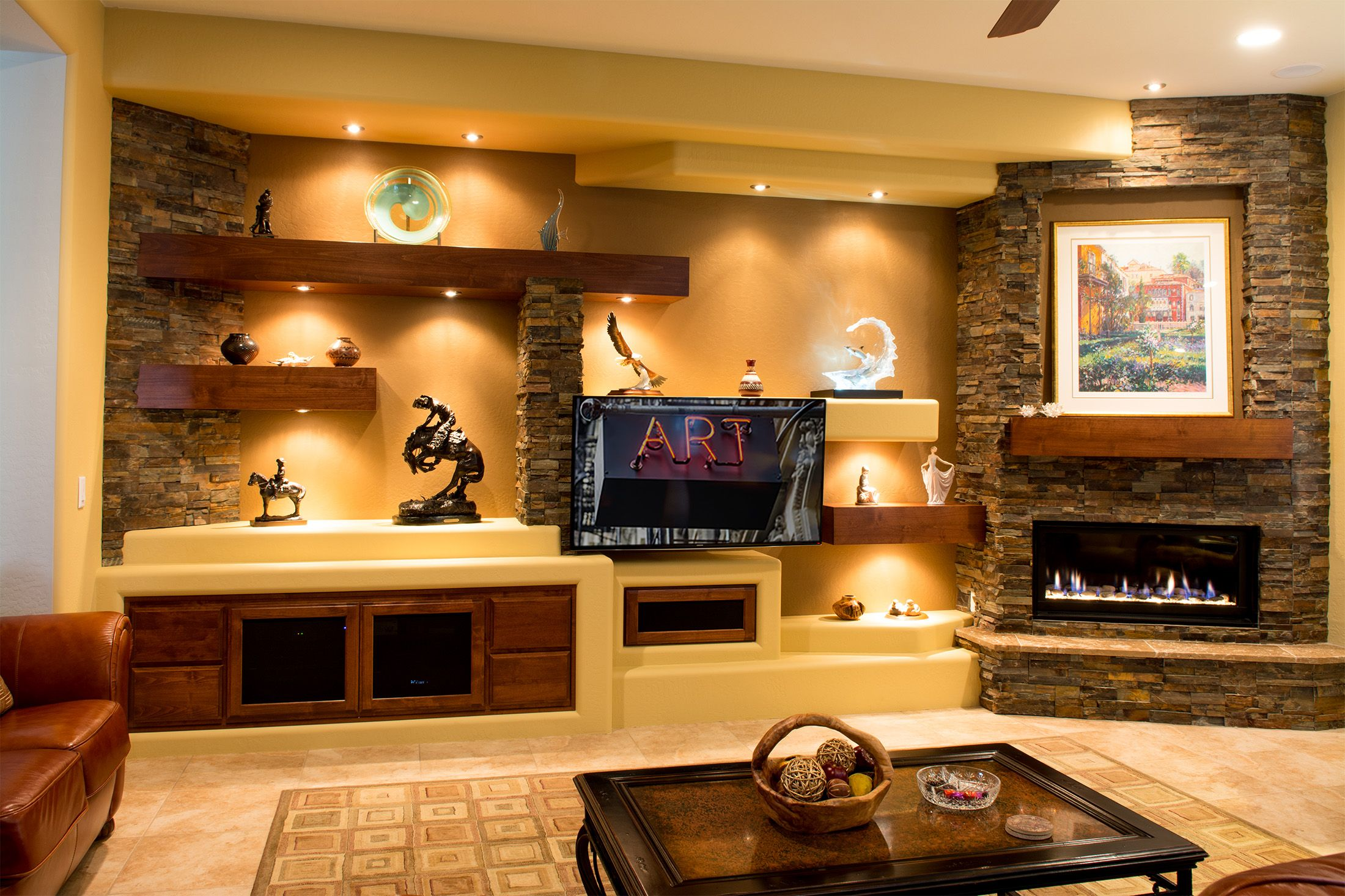 cosy drywall entertainment centers. Dramatic  rustic style custom media wall with natural stone accents lighting design floating LCD TV and fireplace built