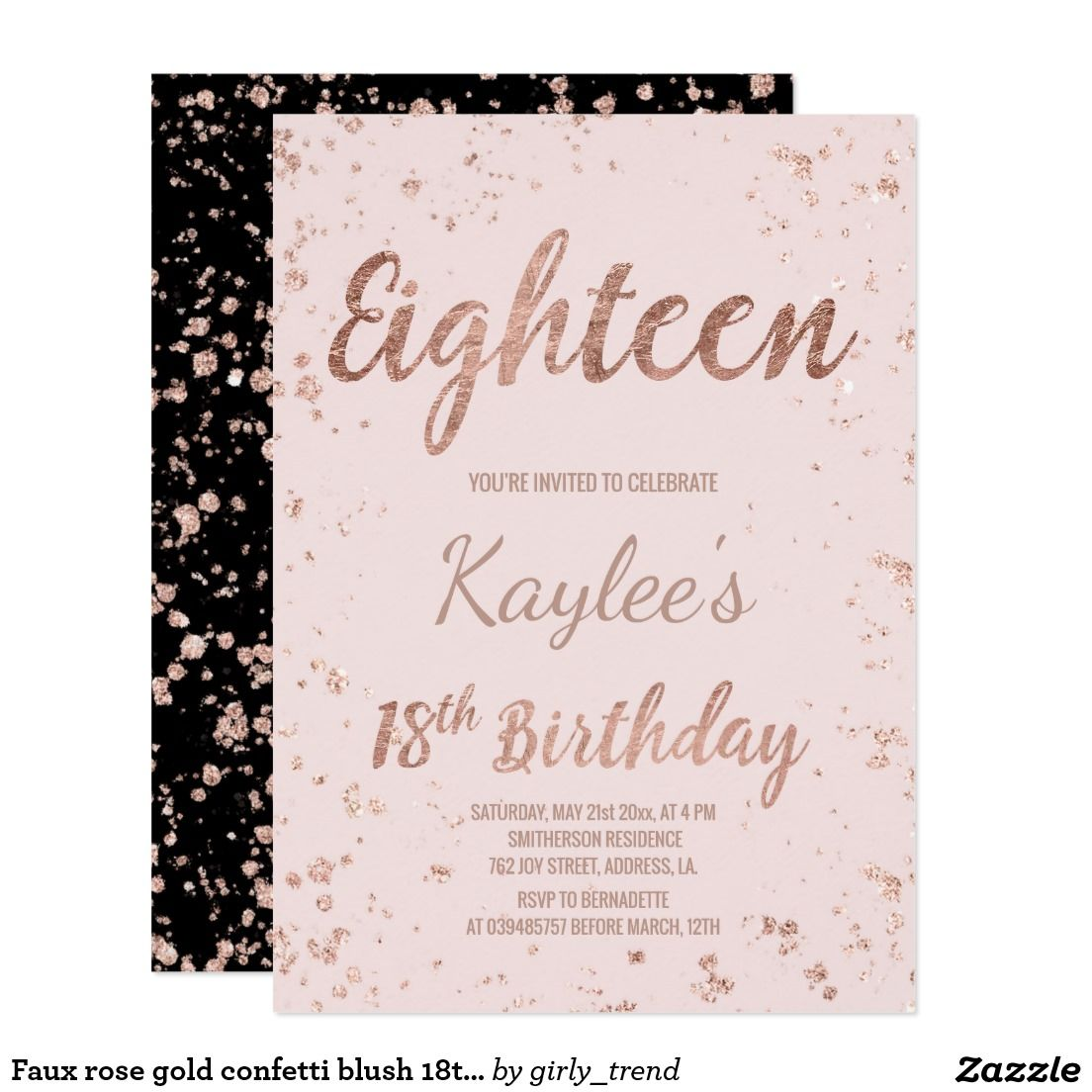 Faux Rose Gold Confetti Blush 18th Birthday Card Splatters Pink Custom Name A Modern Party