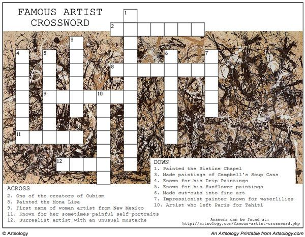 Print And Play Our Famous Artist Crossword Puzzle An Arts Game For Kids Art Games For Kids Famous Artists Drip Painting