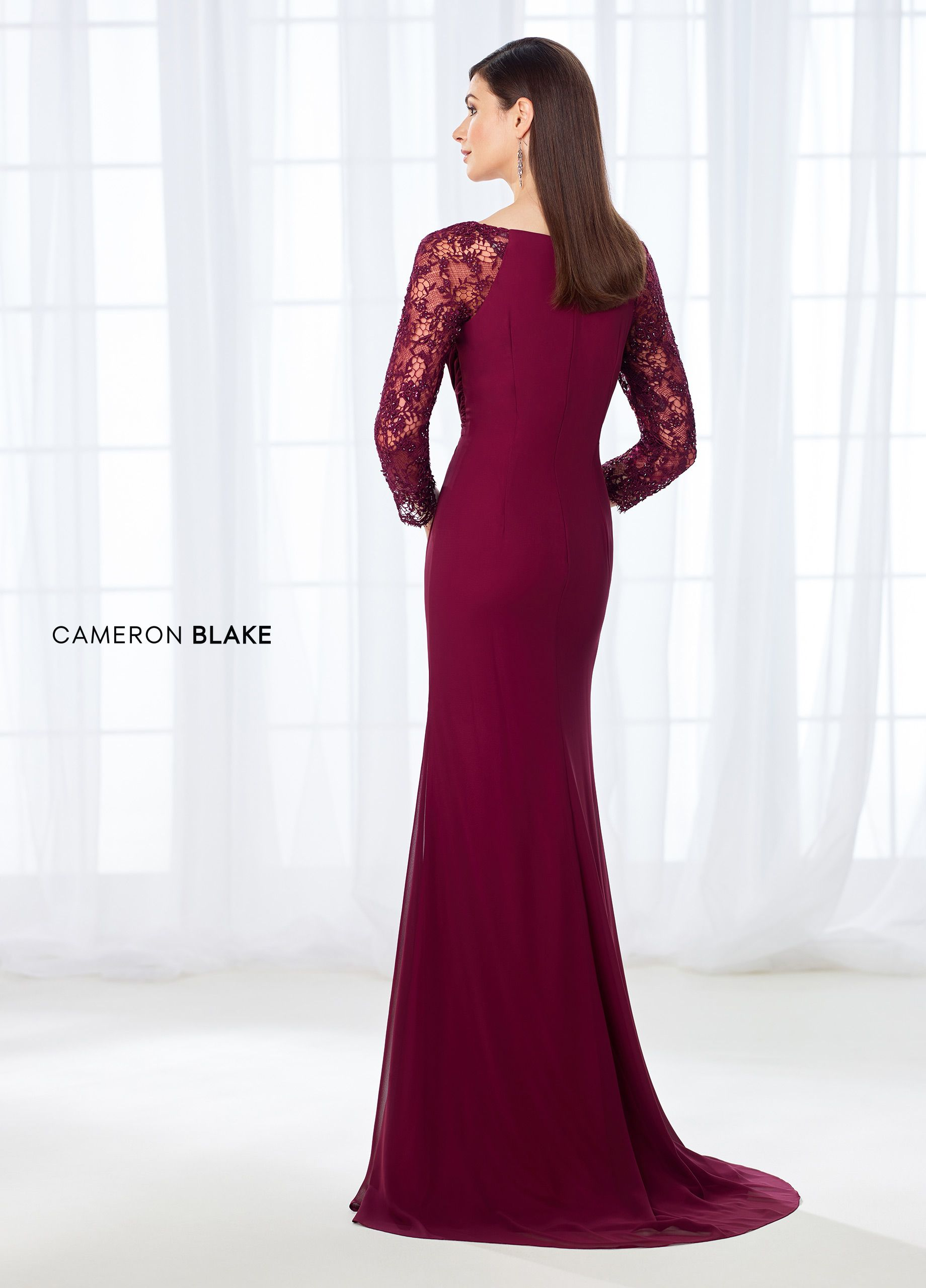9b5b76a70a4 Cameron Blake 118672 - This enticing chiffon fit and flare gown offers  beaded lace illusion three-quarter sleeves