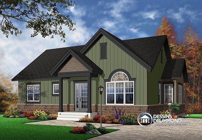 Maison style champêtre rustique, 3 à 5 chambres, grand walk-in - plan de maison duplex gratuit pdf