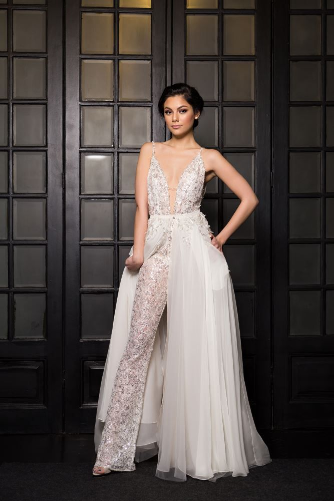 07a7339e0bb Zenya Bridal Jumpsuit with Detachable Skirt.  detachablebridalskirt   bridaloverskirt  overskirt