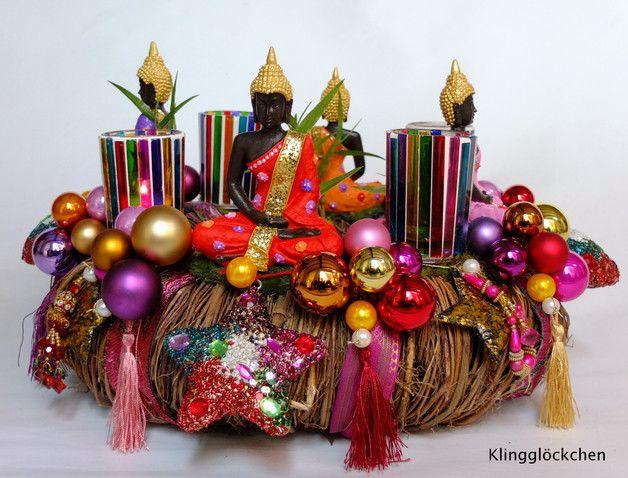 Adventskranz - Adventskranz VIER EDLE WAHRHEITEN Weihnachtsdeko - ein Designerstück von klinggloeckchen bei DaWanda