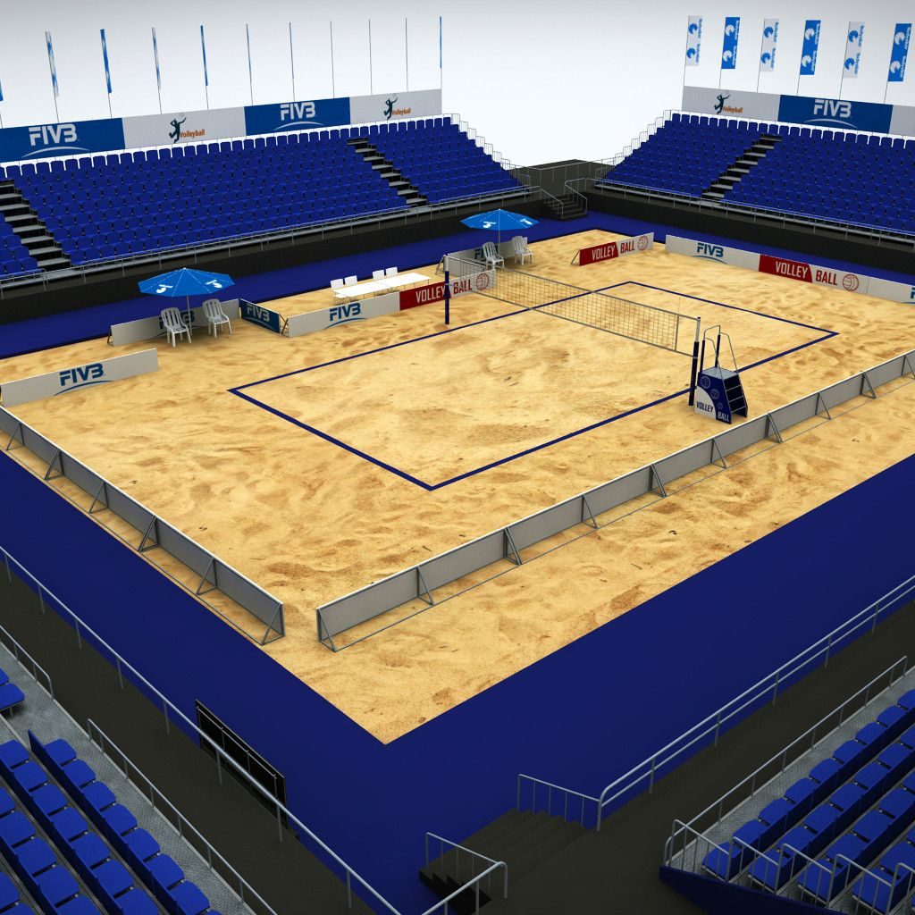 3d Model Volleyball Court 3d Model Beach Volleyball Court Volleyball Stadium