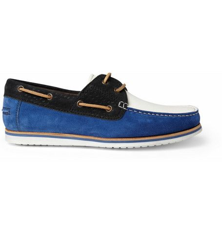 Lanvin Leather and Suede Boat Shoes