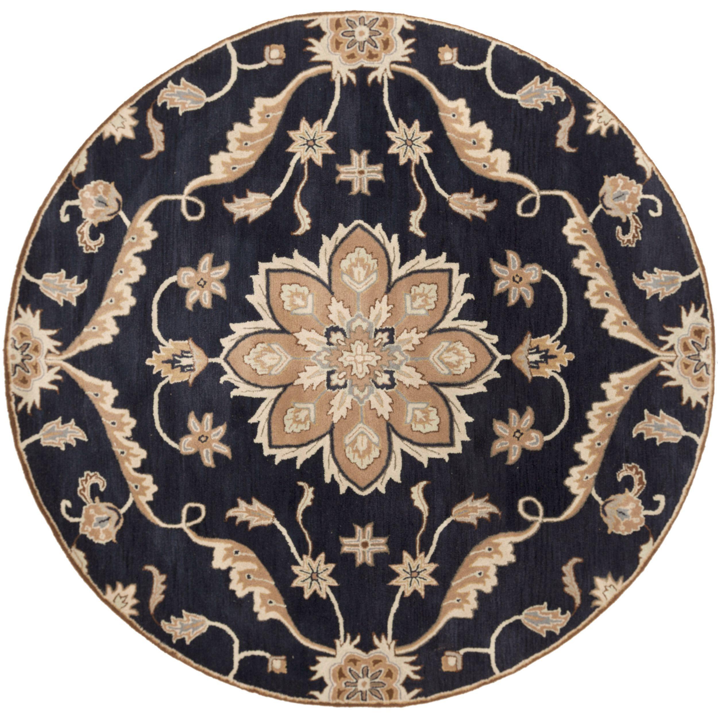 Hand-tufted Robyn Navy (Blue)/Brown Wool Rug (4' Round) (Navy-(4' Round)), Size 4'