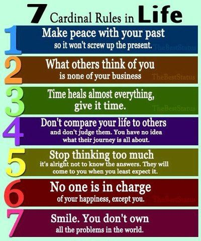 Los 7 puntos cardinales de la vida. Para no perderlos de vista ;)