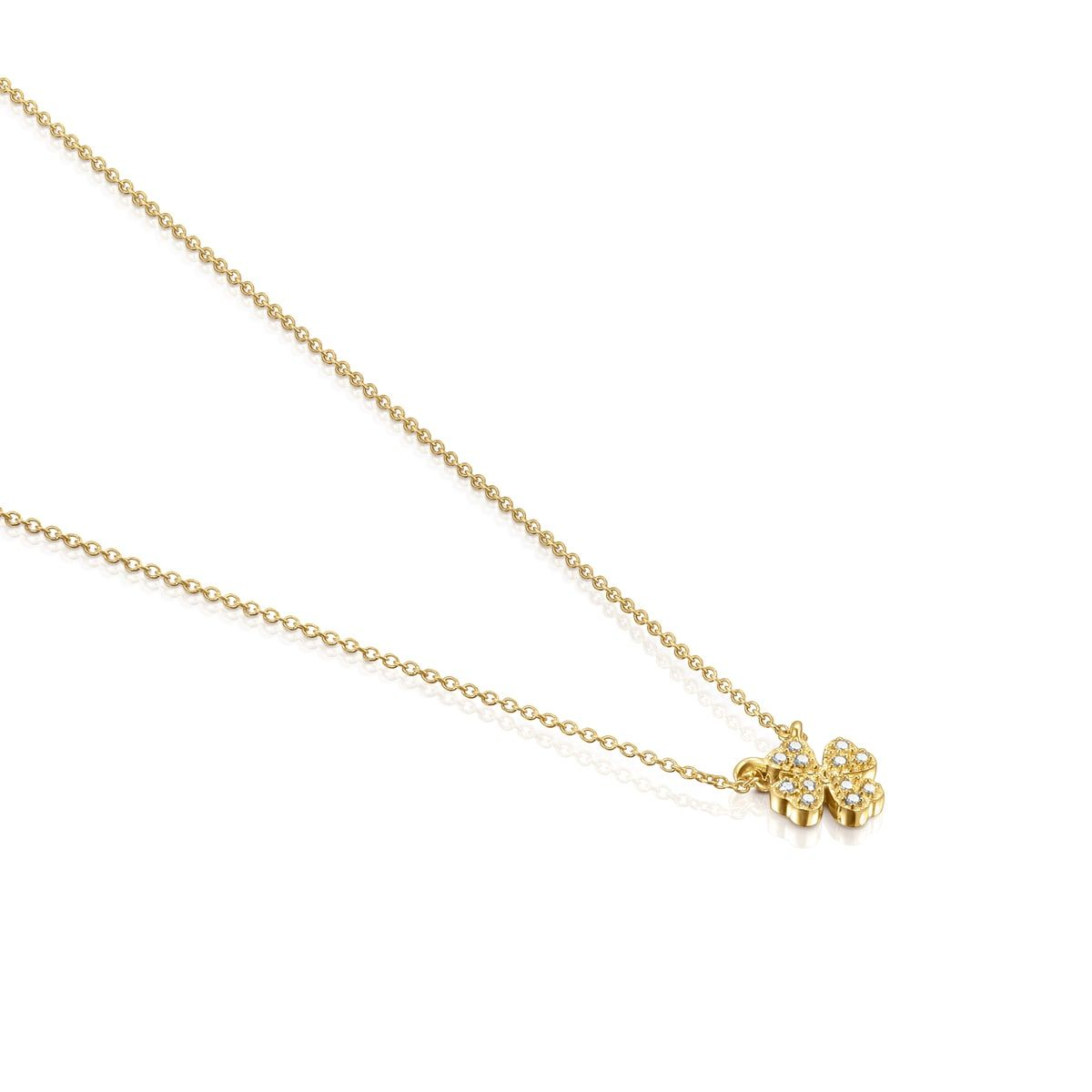 Gold TOUS Good Vibes clover Necklace with Diamonds - TOUS