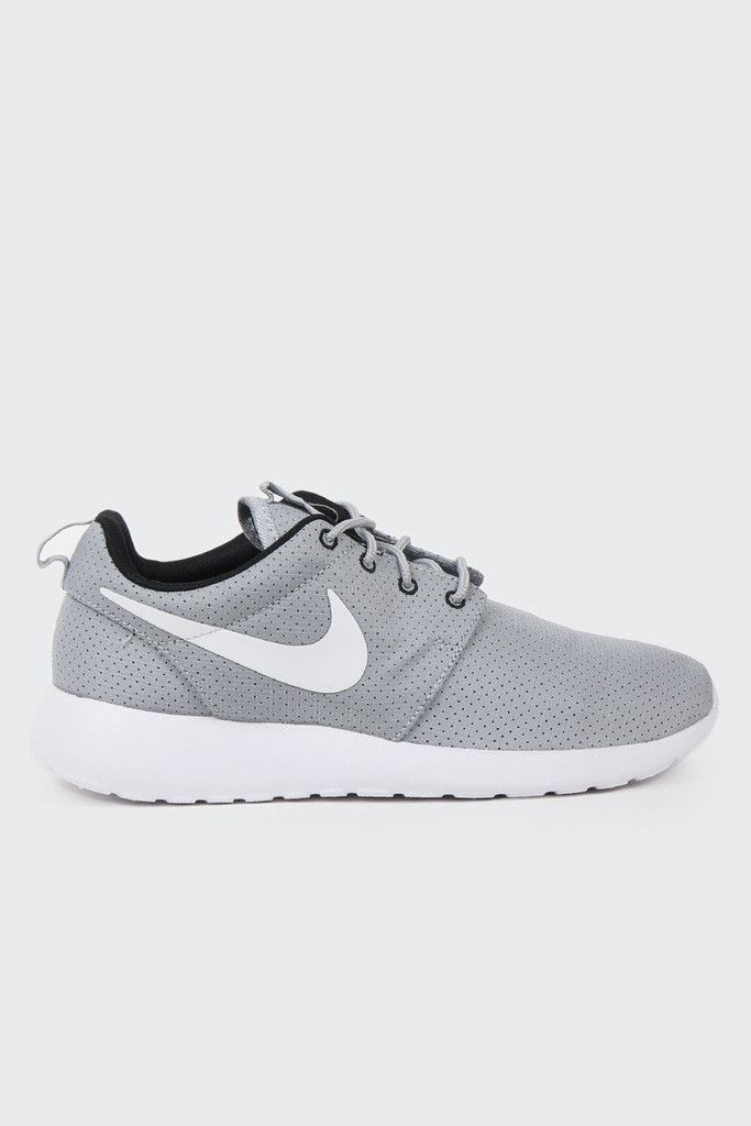 womens nike white & grey roshe run woven trainers on biggest