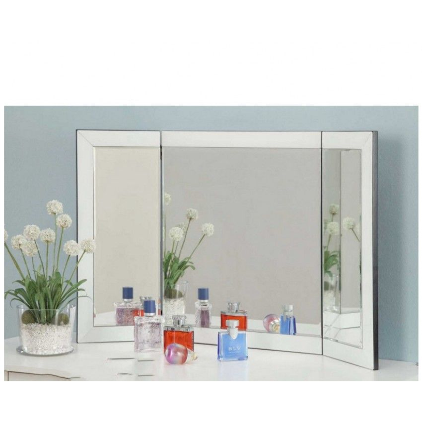 AUD 179    Vanity Tri Fold Mirror White Glass Frame For Dressing Table Or  Console