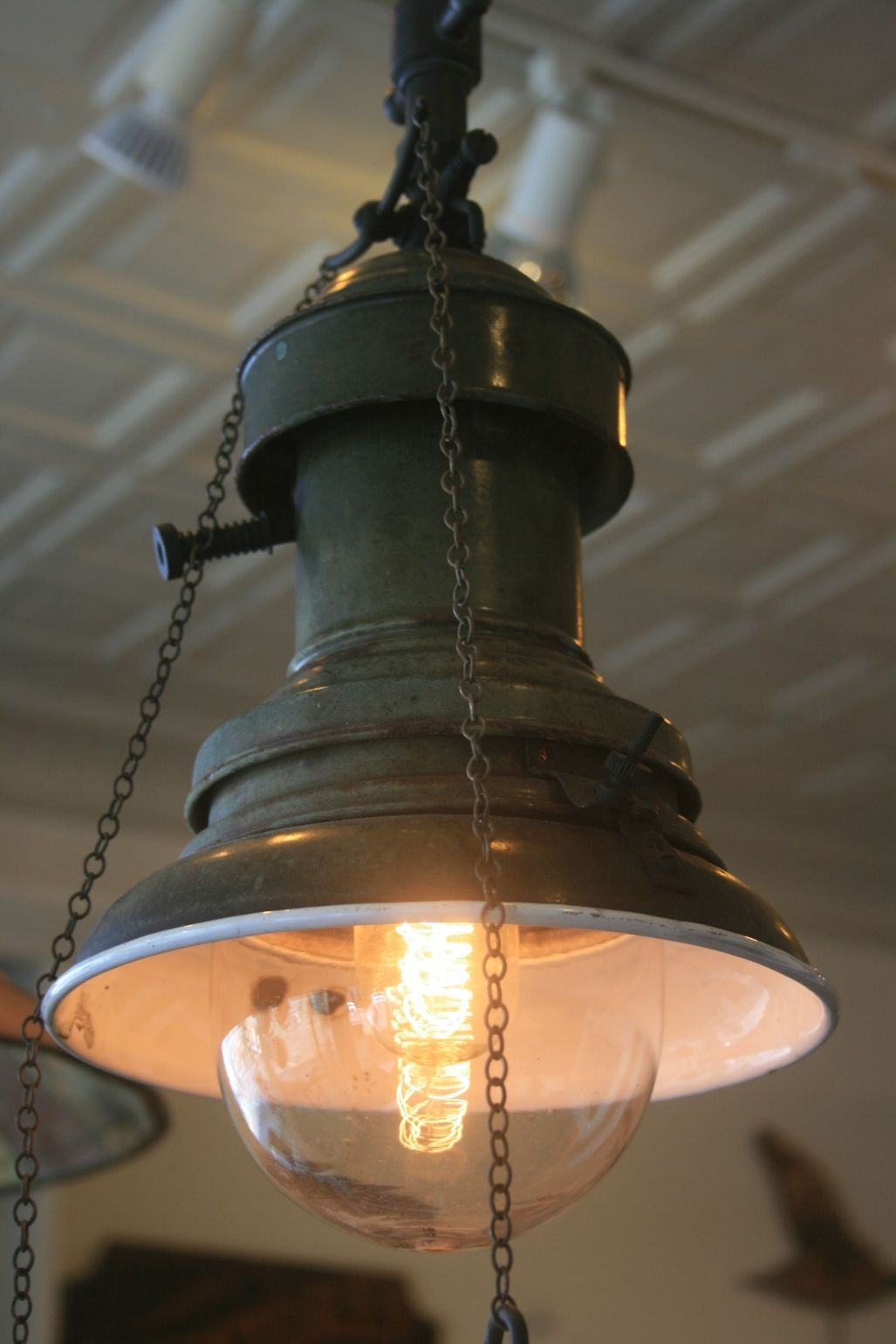 Rare preelectric industrial pendant light pendant lighting