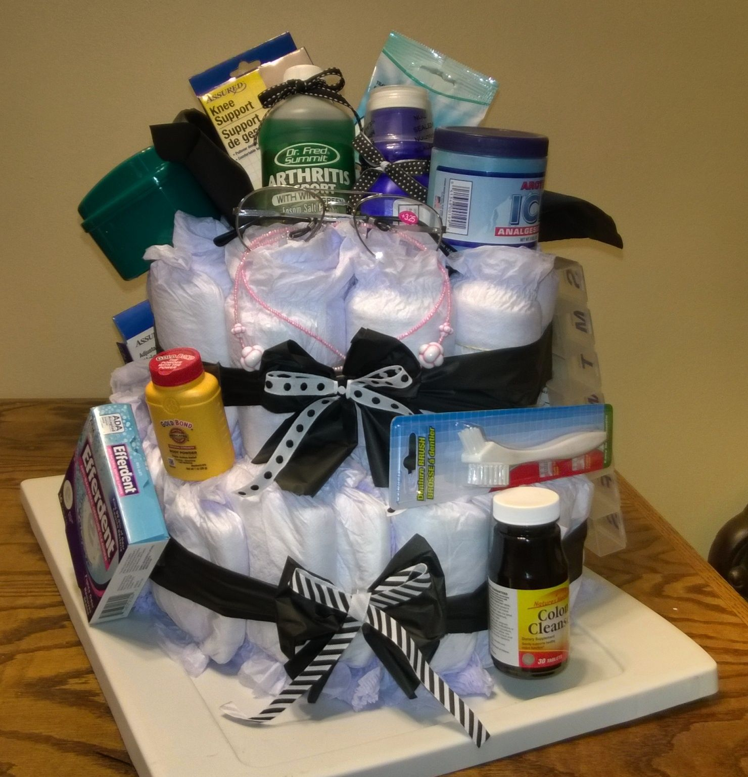 Diy Over The Hill Adult Diaper Cake My First Diaper Cake