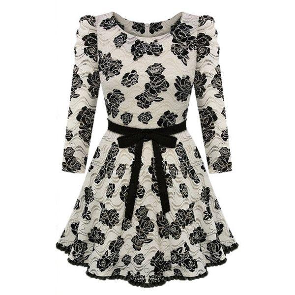 Choies Beige Floral Lace Long Sleeve Skater Dress (140 BRL) ❤ liked on Polyvore featuring dresses, vestidos, short dresses, robes, multi, floral lace dress, long sleeve floral dress, long-sleeve mini dress and lace skater dress