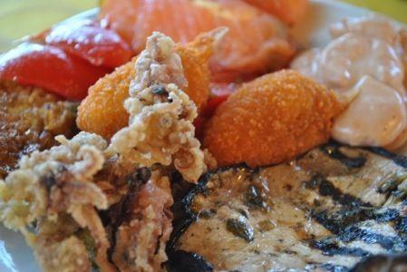 Sicilian delicacies based on fish and crayfish