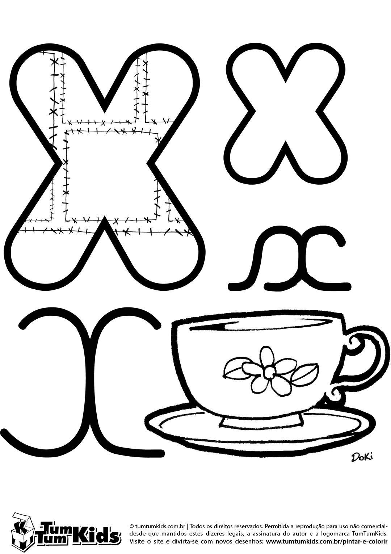 Letra X de Xícara … | Educação | Pinte…