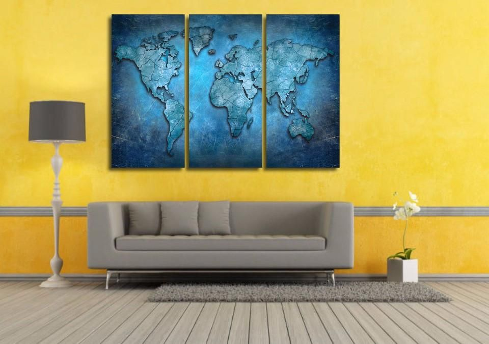 Blue Abstract World Map 3-Piece Wall Art Canvas - Royal Crown Pro ...