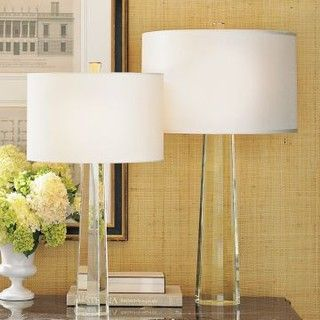 Faceted Crystal Taper Lamps Contemporary Table