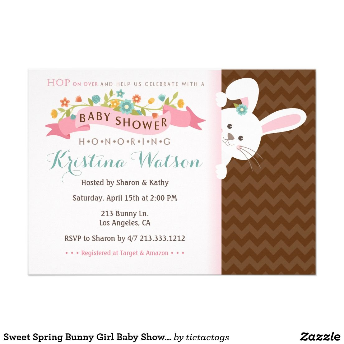 Sweet Spring Bunny Girl Baby Shower Invitation
