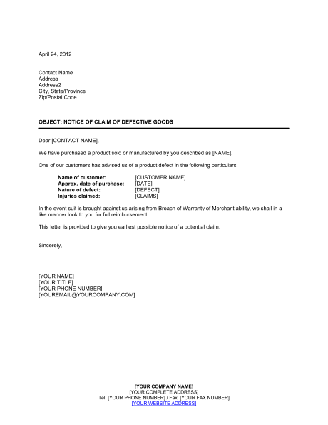 Notice Claim Defective Goods Template Amp Sample Form Biztree
