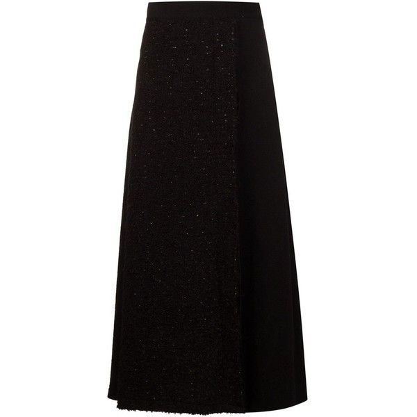 Nocturne #22 Bouclé Knit Wrap Skirt (£330) ❤ liked on Polyvore featuring skirts, black, wrap skirt, knit skirt, black wrap skirt, black skirt and black knit skirt
