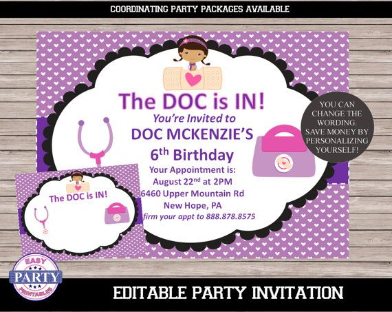 Doc Mcstuffins Editable Birthday Invitation By EasyPartyPrintables