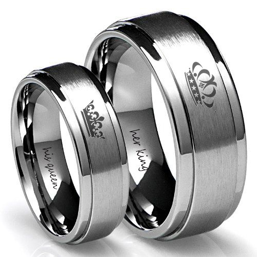 King And Queen Silver Tungsten Ring Set Camo Wedding Rings King