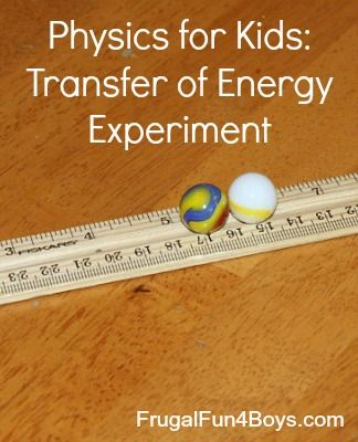 Transfer Of Energy Science Experiment Frugal Fun For Boys And Girls Easy Science Experiments Science Experiments Science Experiments Kids