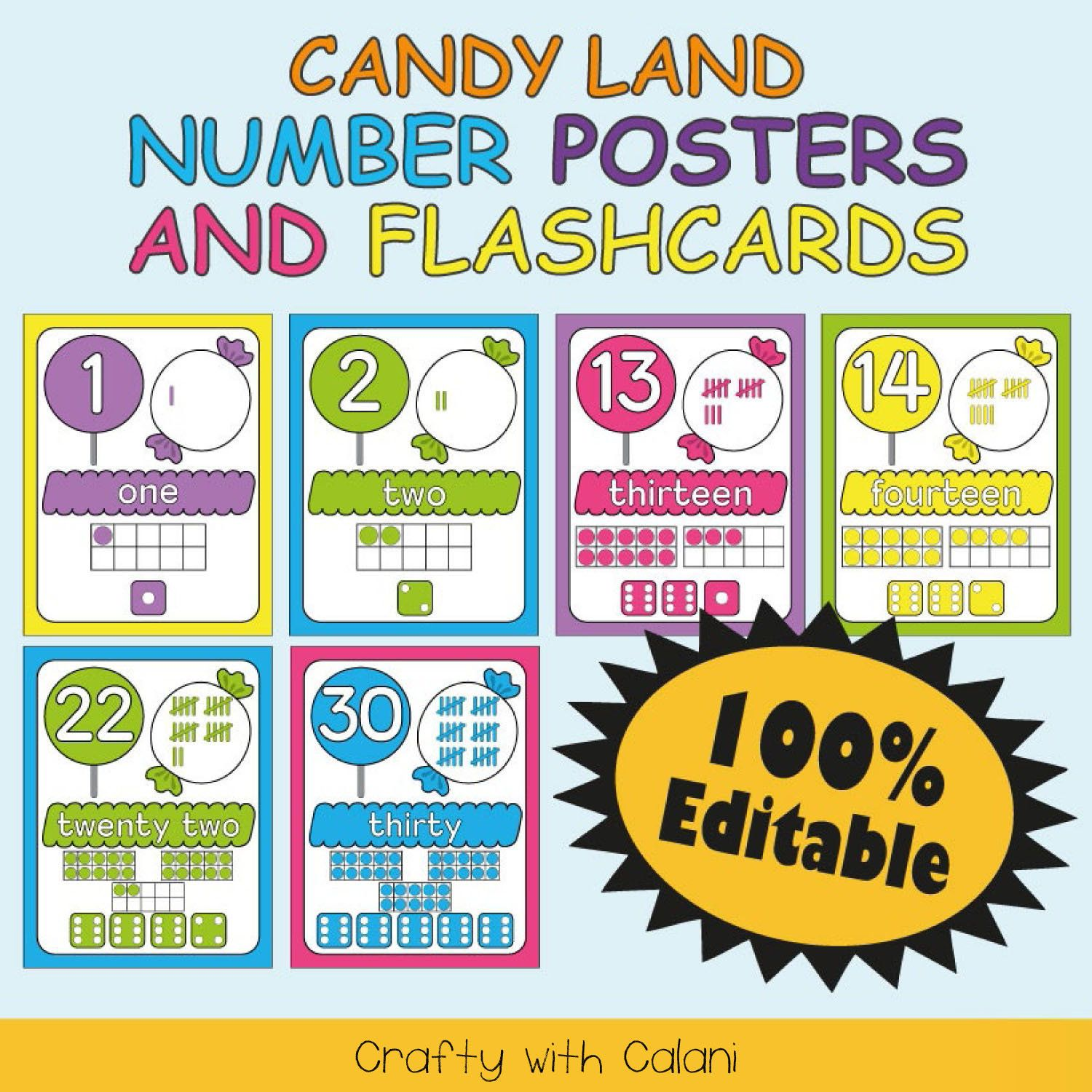 Number Classroom Poster Candy Theme Classroom Math