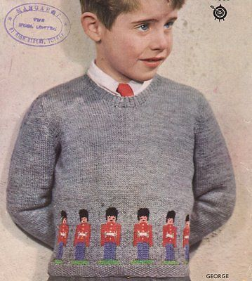 Tin Soldier Guardsman Prince George 4 Ply Sweater Childrens Knitting Pattern ...