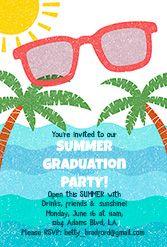 Summer Graduation Party - Free Printable Graduation Party Invitation Template | Greetings Island